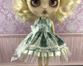 Blythe Dress - Olive and Cream