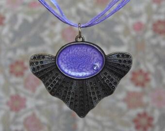Purple bronze fan pendant, steam punk necklace, FREE SHIPPING, purple crackle effect resin, frilled bezel, light and delicate pendant