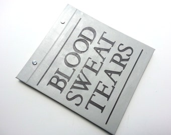 Race Bib Holder - Blood Sweat Tears Race Bib Binder Book- Hand-bound Book for Runners Light Gray and Dark Gray