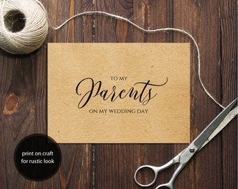 PDF Template 5x3.5 tent style wedding card To My Parents card INSTANT DOWNLOAD Wedding calligraphy Parents Cards Printable Digital