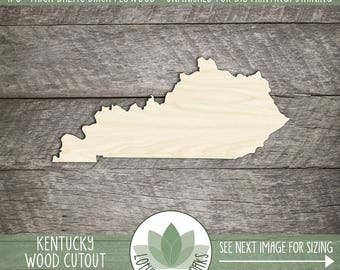 Kentucky Wood Cutout, Laser Cut Wooden Kentucky Shape, Wood State Shapes For DIY Projects, State Wedding Favor, Blank Wood Shapes