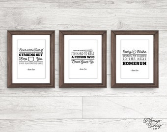 Baseball Quote Printables Set, Never Let the Fear of Striking Out, Babe Ruth - INSTANT DOWNLOAD - 8x10