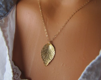 Gold Leaf Necklace, 14K Gold Filled Jewelry, Nature Jewelry, Leaf Jewelry