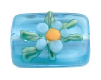 18mm Vintage Czech floral overlay blue rectangle lampwork glass bead
