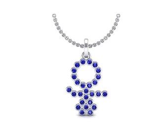 GIRL Bezel-Set Blue Sapphire Pendant, GIRL Pendant, Blue Sapphire Pendant, Blue Sapphire Jewelry, Bezel-Set Pendant, Gift For Her