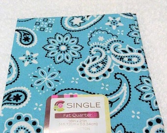 Quilting Fabric, Fat Quarter Single, Craft Supplies, Bandana/Carnation, Turquoise/Black/White, Diy/Sewing Material, Apparel/Sewing Material,