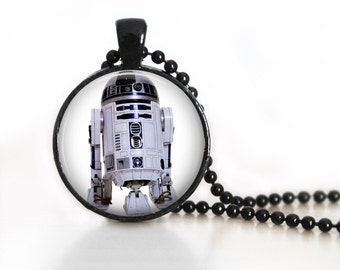 Star Wars R2D2 Inspired Glass Pendant, Photo Glass Necklace, Glass Keychain