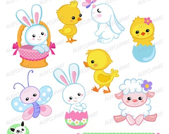 Easter clipart, Easter Bunny and Chicks Clipart. Digital clipart . Instant Download