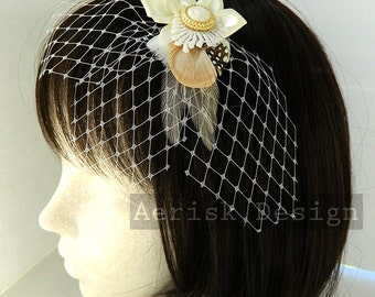 Vintage gold button IVORY Satin Blossom feather fascinator hair clip with Three Petal Blusher Veil - OOAK Art Deco design