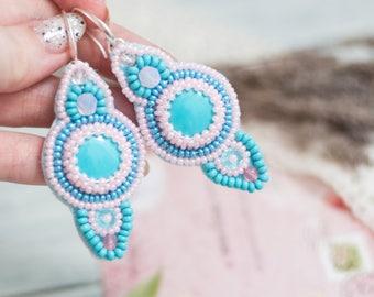 Mothers day jewelry, Blue Embroidered Earrings, Girlfriend gift, Beaded Earrings, Turquoise Earrings, Blue Pink Jewelry, Sterling earrings