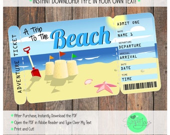 Ticket to the Beach Vacation Boarding Pass - Digital File - You Fill and Print