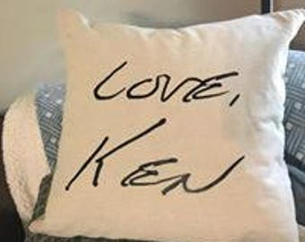 Handwriting copied onto a pillow