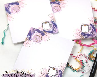 """Sticky Notes - Coffee Cup Sticky Notes - Cat Sticky Notes - Post It Notes - Stationery Pad - Floral Stationery - Teacher Gift - 3""""x3"""" Square"""