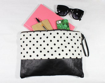 Repurposed Leather & Vintage Black and White Polka Dot Fabric Clutch