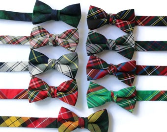 Boys Tartan Plaid Bow Ties~Boys Bow Tie~Boys Plaid Bow Ties~Cotton Bow Tie~Church Tie~Plaid Bow Tie~Wedding~Ring Bearer~Gift~Christmas Tie
