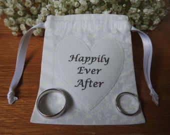 Wedding Ring Bag, Wedding Ring Holder, Ring Holder, Wedding Rings Bag, Wedding Ring Pouch - White leaves