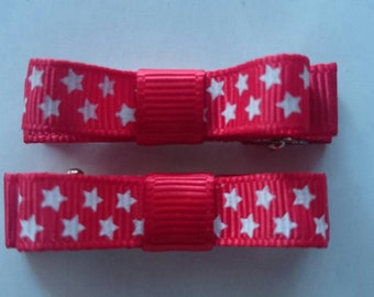 Toddler/Girl/Adult Non Slip Hair Clips - Mary Jane Hair Clip Set of 2 - Red with White Stars
