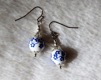 Blue and White Flower Drop Earrings Free US Shipping