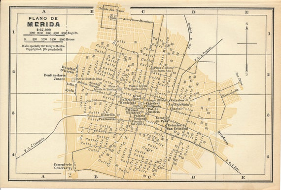 1925 Merida Mexico Antique Map