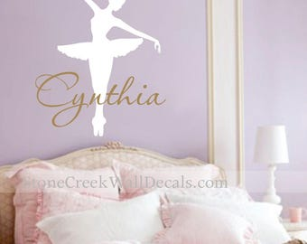 Ballerina Name Vinyl Wall Decal Ballet Dancer Decal Vinyl Wall Decal Large Decal Dancer Dance Team Dance Studio Bedroom Nursery Wall Decal