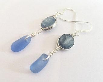 Kyanite earrings - blue kyanite and cornflower blue seaglass earrings - kyanite drop earrings