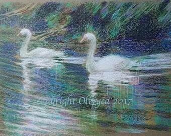 "Swans Pencil Painting 4x6"" - Original, Colored Pencil, fine art, paper, miniature, blue, white, green"