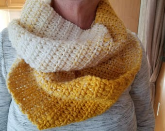 Ombre mustard and cream infinity scarf