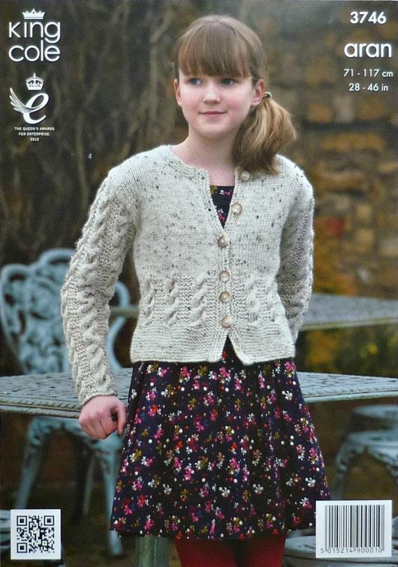 Chicas tejer patrón K3746 damas/niños largo manga Cable chaqueta ...