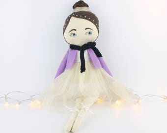 Ballerina doll, handmade doll, cloth doll, stuffed ballerina doll, ballet softie, little ballerina doll, dancing doll, dancer doll