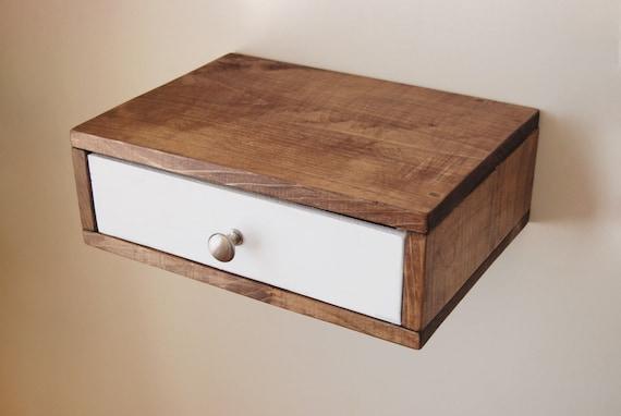flottant tag re murale table de chevet avec tiroir en bois. Black Bedroom Furniture Sets. Home Design Ideas