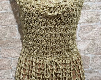 Gold Blouse,Crochet Blouse,knitted Blouse,sleeveless top