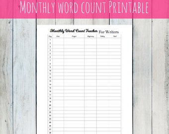 PRINTABLE: Monthly Word Count Tracker - A digital download planner page to track your writing, great for writers, novelists, freelancers
