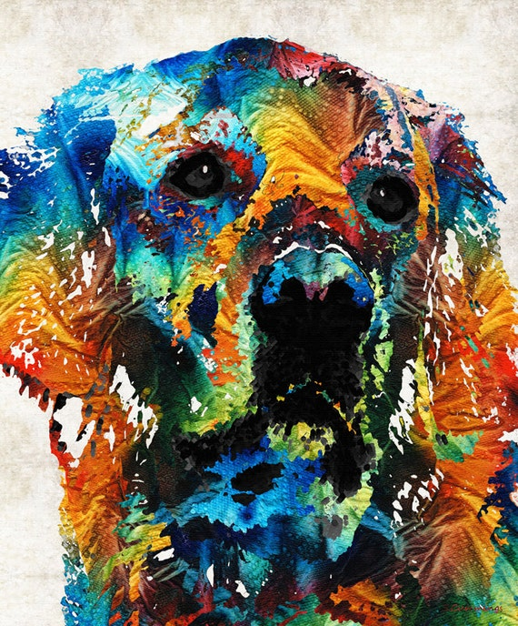 Colorful Dog Pop Art Print From Painting Dogs Pets Golden