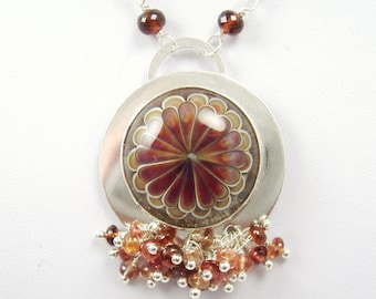 Red Petals Lampwork Glass, Sterling Silver and Spinel Pendant Necklace, hallmarked