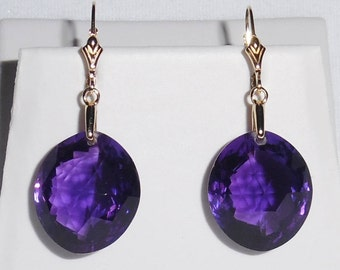 44cts Natural Pear CKB Purple Amethyst gemstones, 14kt yellow gold leverback Earrings