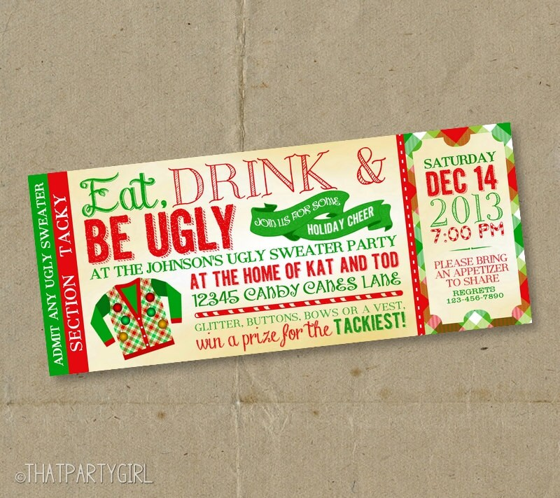 Ugly Sweater Invitation Ugly Sweater Invites Ugly Sweater