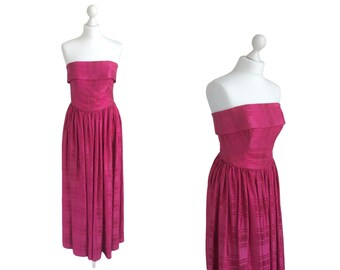 1950's Horrockses Strapless Gown - Vintage Evening Dress - Fuchsia Pink Satin - 50's Vintage Dress - Prom Party Occasion Dress