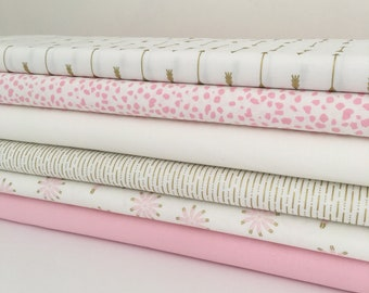 Pink, cream and gold fabric Collection - Fat Quarter Bundle - New