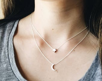 Silver Layered Necklace- Moon Necklace, Star Necklace, Tiny Charms Necklace, Minimal Necklace, Simple Layered Necklace, Silver Necklace