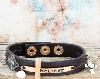 Worn Multi-Tone 'Believe' Cross with Charms Brown Cuff Bracelet