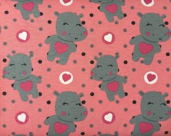"Printed Jersey, printed cotton jersey fabric ""Hippopotamus on pink background"""