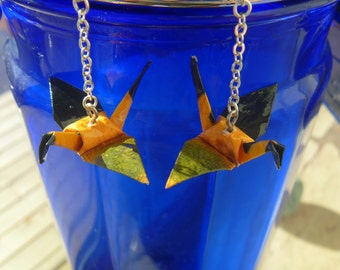 Unique Origami Crane Earrings –FREE SHIPPING– black, yellow, green recycled-upcycled-reclaimed-renewed-repurposed paper #e713 marlisa
