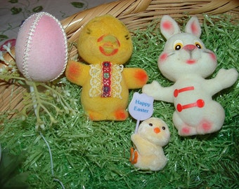 Antique Flocked Easter Duck,Bunny,Little Chick and Pink Egg