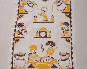 Vintage Towel Adorable Elf Chefs Cook Up Fun Retro Kitchen