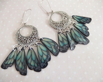 Earrings creole print in the wings of butterfly jewelry spirit Native American version 5