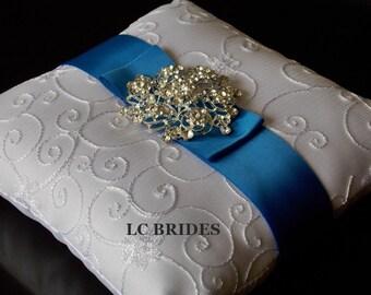 Wedding Ring Bearer Pillow, Custom, Royal Blue, White, Ivory