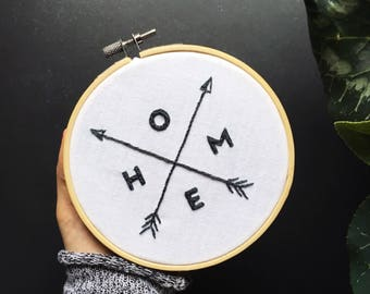 Customized Hand Embroidery Hoop / HOME Arrows Hand stitched Hoop /Personalized Sign Embroidered Gift  Wall decor / Modern Hoop Art