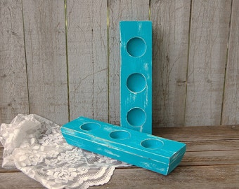 Shabby Chic Candle Holder, Turquoise, Teal, Tealight, Votive, Candle Holder, Hand Painted, Beach Decor, Wedding Decor