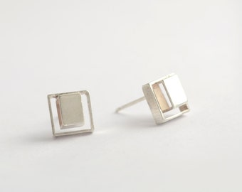 Square Silver Stud Earrings, Cube Studs, Small Stud Earrings, Square Stud Earrings, Square Earrings, Silver Handmade Earring, Cube Earring