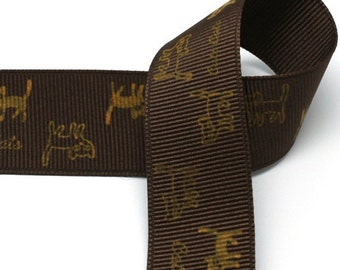 5Yards 25mm(1'') Brown Cat Print Grosgrain Ribbon